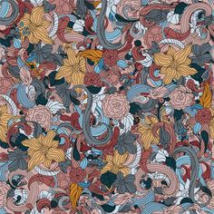Blooms & Whirls Chic Shelf Paper: An explosion of marigold yellow and soft mauve flowers with fanciful swirls in cabernet, gray and blue accents.
