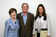 Princess Madeleine with Laura and George W Bush during the visit to Women's Initiative in Texas, USA, on 28 thru 30 of March 2012