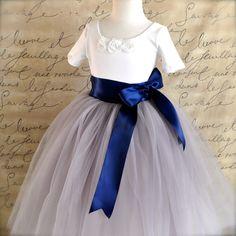 Dove grey and navy Flower Girl tutu skirt  by TutusChicOriginals