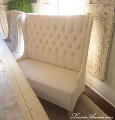High back tufted loveseat! ($678 from Joss & Main) Bench seating in a Dining Room