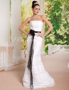 The Green Guide - Mermaid/Trumpet Organza Floor-length Strapless Wedding Dress [174754] - US$128.99 : The Green Guide