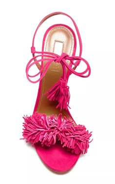 Wild Thing Suede Sandals in Pink by Aquazzura - Moda Operandi