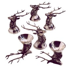 Silver 'Stag' Stirrup Cups (1897-1908). Russia. Late 19th Century. A fine set of six Russian silver Stirrup cups modelled as stag's heads with antlers, bearing Russian silver marks, 1897 – 1908. Price