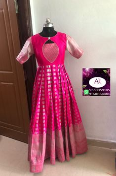 Sari dress Watching a seed grow into a tree is just as wondrous as the conception to birth and growt Salwar Designs, Lehenga Designs, Half Saree Designs, Saree Blouse Neck Designs, Fancy Blouse Designs, Dress Neck Designs, Kurti Designs Party Wear, Designs For Dresses, Long Gown Dress