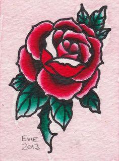 Valentine Rose, tattoo flash by Evie Yapelli - showpigeon.com
