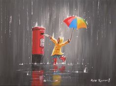 PETE RUMNEY FINE ART BUY ORIGINAL PAINTING LETTERS IN THE RAIN RED LETTER BOX | eBay