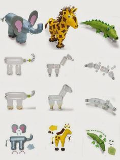 zoo animals made out of recycled bottles Plastic Bottle Flowers, Plastic Bottle Crafts, Recycle Plastic Bottles, Recycled Art Projects, Recycled Crafts, Diy Crafts, Pet Bottle, Plastic Animals, Recycled Bottles