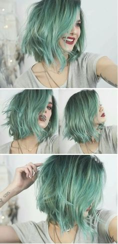 Metallic Hair Color – The Most Magnetic Trend Ever! – Page 3 – Style O Che… Metallic Hair Color – The Most Magnetic Trend Ever! – Page 3 – Style O Check Metallic Hair Color, Green Hair Colors, Mint Hair Color, Mint Green Hair, Pastel Hair Colors, Gray Green, Green Nails, Short Hair Colour, Short Pastel Hair
