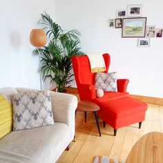Ikea seating, lamp, end table, and coffee table Wingback Chair, Armchair, End Tables, Accent Chairs, Ikea, Interior Design, Coffee, Furniture, Home Decor