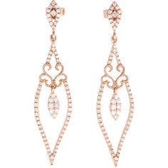Pre-owned 14K Rose Gold Diamond Chandelier Earrings ($925) ❤ liked on Polyvore…