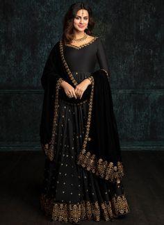 dd7647b68b Black Taffeta Silk Anarkali with Shawl Dupatta