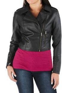 Long Sleeve Asymetrical Zip Moto Jacket: Dots.com