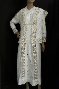 Embroidered linen dress & vest, c.1910