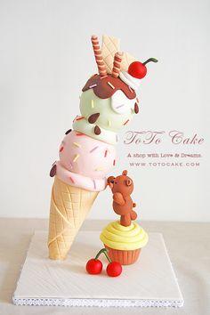 ice cream cone cake, bear cake , 3d cake