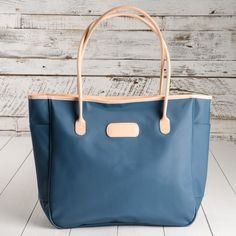 Jon Hart Tyler Tote in French Blue with all natural leather trim.