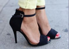 omg yes please! high backed open toe black ankel strapped heel
