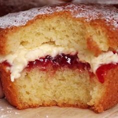Mini Victoria Sponges........ 1 cup flour, 1 cup sugar, 1 cup butter, 2 t. baking powder, 4 eggs. Beat ingredients and divide in 12 cupcake cups. Bake at 320 F. for 25 mins. Cool. Split and fill with jam and cream.