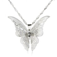 CS-DB Womens Necklaces by Silver Pendant Multicolor Flower Butterfly Charm Girls