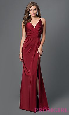 Faviana V-Neck Ruched Open-Back Floor Length Dress  at PromGirl.com