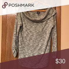 Market and Spruce Sweater Grey off shoulder, 3/4 length sweater Market and Spruce Sweaters Crew & Scoop Necks