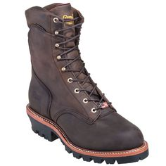 Chippewa Boots: Men's USA-Made 25407 Waterproof Steel Toe EH Logger Work Boots,    #Boots,    #25407,    #ChippewaBoots