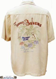 new Tommy Bahama 100% silk Biege soft Mens short sleve shirt Paradise  ref SH26