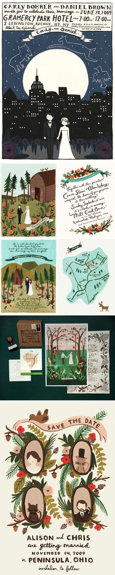 Custom illustrated wedding invitations and save the dates by Anna Bond of Rifle Paper Company.