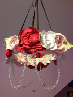 Pinkapotamus: Fabric Flower Chandelier DIY