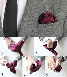 How To Fold a Pocket Square: The Flower Fold Valentine's Day men Pocket Square Folds, Pocket Square Styles, Mens Pocket Squares, How To Pocket Square, Sharp Dressed Man, Well Dressed Men, Pliage Pochette Costume, Men Style Tips, Suit And Tie
