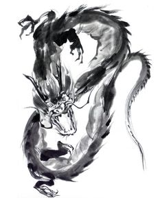 Dragon Japanese Drawings, Japanese Art, Silhouette Dragon, Samourai Tattoo, Dragon Sleeve Tattoos, Japanese Dragon Tattoos, Dragons, Dragon Art, Black And Grey Tattoos