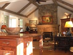 Like the rafters and stone fire place