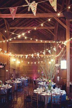 Barn Wedding Reception decorated with chic bunting,rustic wedding reception ideas
