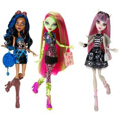 monster high dolls | Monster High Dolls Rochelle Goyle Venus Mcflytrap Robecca Steam Set ...