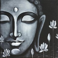 Buddha Peace, Art Prints of Original Painting by Pratibha Madan Black Canvas Paintings, Indian Art Paintings, Black Canvas Art, Modern Art Paintings, Canvas Art Prints, Budha Painting, Painting & Drawing, Peace Painting, Ganesha Painting