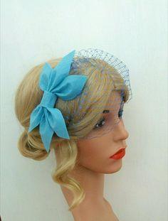 Blue Birdcage Veil Blue Bow Headband Blue Wedding Veil Blue