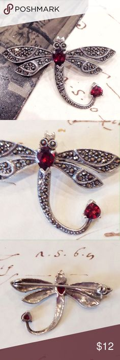 """Silver Dragonfly Pin with Marcasite and Garnets Costume jewelry vintage style dragonfly brooch in silver with marcasite wings and tail, and garnet stones for body and tall tip. Measures 1 1/4"""" long and 1 7/8"""" wide. Excellent condition. Jewelry Brooches"""