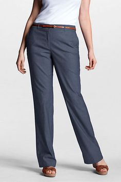 78b16096675 Women s Plus Size Fit 2 Chambray Straight Leg Pants from Lands  End  Straight Leg Pants