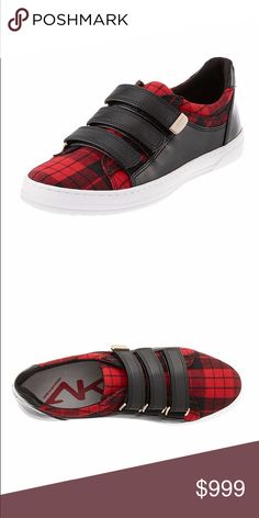 """Anne Klein Casual Sneakers Sport Shoes Urbanize your outfit with these triple Velcro® strapped mixed media sneakers from Anne Klein. Featured in black 1"""" heel / platform Closed round toe Closed back with elongated heel tab and full gunmetal metallic panel Three adjustable Velcro® straps at vamp with metal """"AK SPORT"""" plate at upper end of strap Mixed blocked panels of soft and smooth media materials Cushioned footbed Manmade treaded outsole Red plaid and grey pairs: fabric / polyurethane…"""