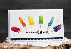 Coolest Ever by Laurie Schmidlin - Features the So Cool stamp set, illustrated by Claire Brennan for Gina K Designs Diy Cards, Handmade Cards, Watercolor Cards, My Stamp, Just Giving, Summer Fun, Cardmaking, Give It To Me, Projects To Try