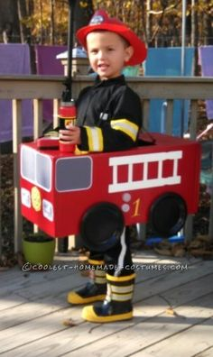 Best Fireman in Fire Truck Costume EVER !