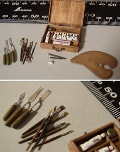 Miniature artist materials by Dollhouse Rosy by TNBrat