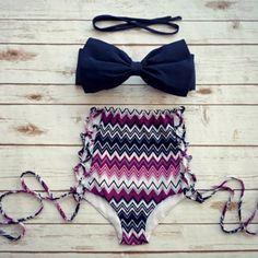 Women's Stylish Striped Print High Halter Waist Bikini Suit