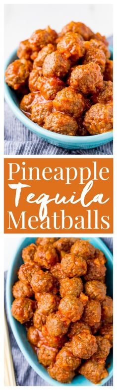 Pineapple Tequila Meatballs will get your game day party started out right! Just dump the four ingredients in the crock pot and let them slow cook for about 2 hours and they're ready to go! via @sugarandsoulco
