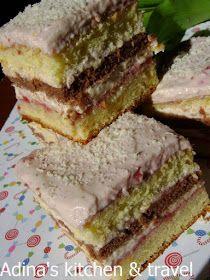 Cake with lemon cream and raspberry jam Romanian Desserts, Romanian Food, Romanian Recipes, Strawberry Cakes, Food Cakes, Homemade Cakes, Cake Cookies, Cake Recipes, Bakery