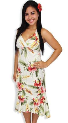 Beige Orchid Pu'a Island Mid Length Rayon Dress – Twisted Palms Trading Co.