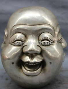"8"" Chinese Silver Folk Buddhism 4 Face Happy Laugh Maitreya Buddha Head Statue"