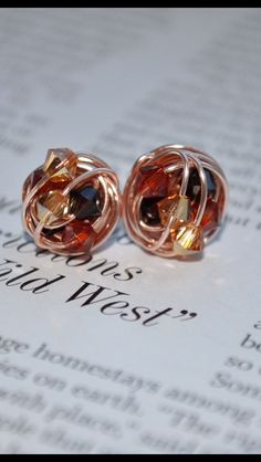 Fall Series - Handmade Wire Wrapped Rose Gold Stud Earrings - Made with Autumn colored Swarovski Crystals