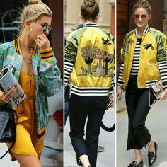 Como previsto, as jaquetas bomber continuam em alta na primavera, personalizando os looks com muito estilo. Vale a pena investir!🌻💙 #haileybaldwin #oliviapalermo #creative #fashion #style #inspirations #bomberjackets