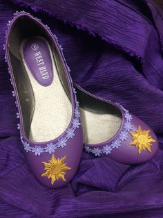 Rapunzel Embroidered Tangled Sun Purple Shoes by RoyalEnchantments