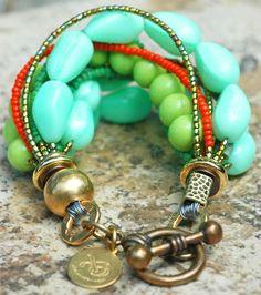 Beautiful bulky bracelet ~  #turquoise  #braclets